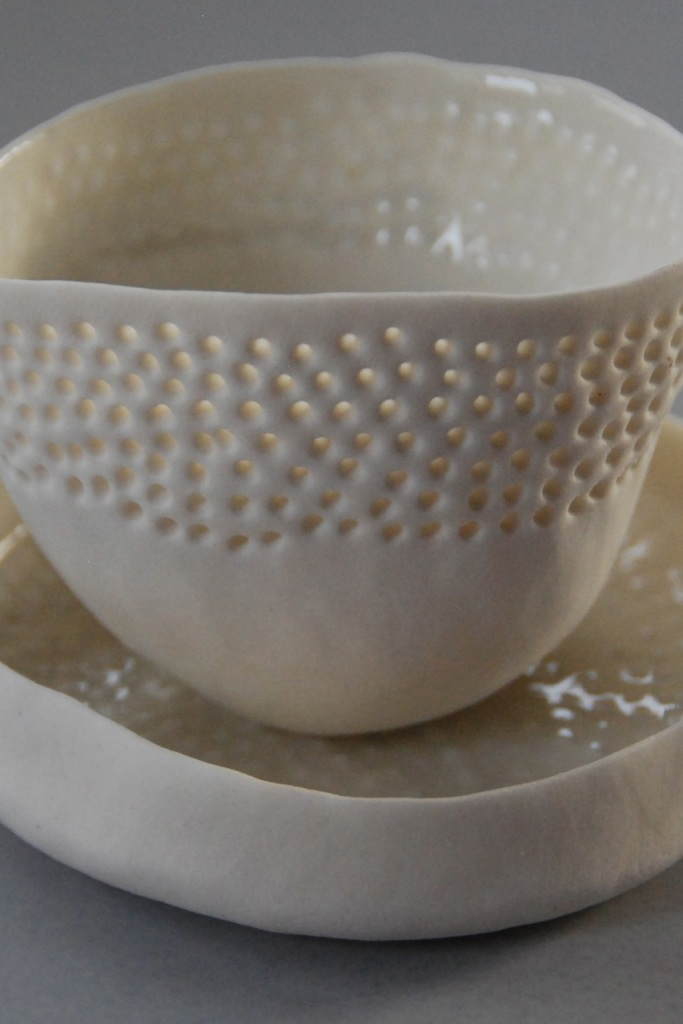 Vicki Grima, pinched bowl and saucer, August 2013